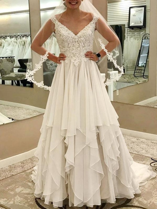 A-Line Appliques Tiered Wedding Dress 2019