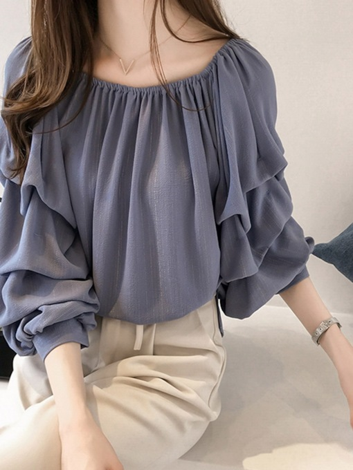 Plain Nine Points Sleeve Women's Blouse