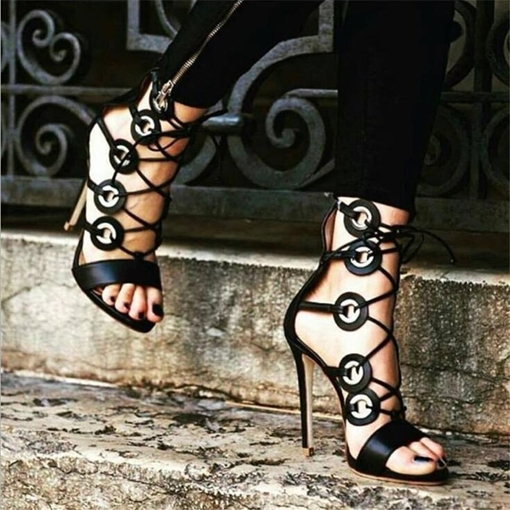 Lace-Up Heel Covering Peep Toe Stiletto Heel Sexy Sandals