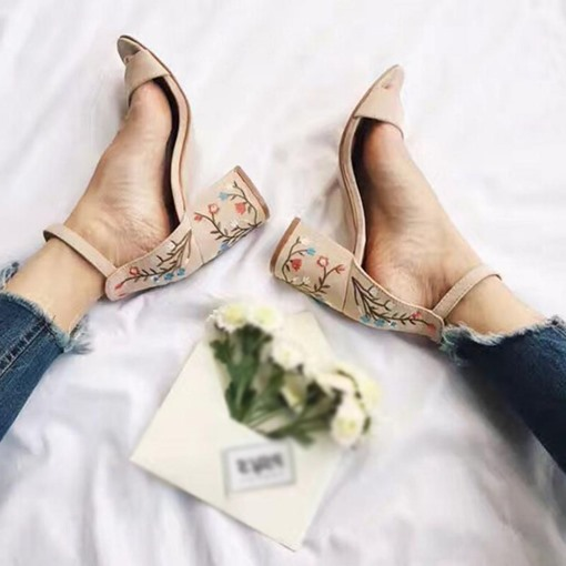 Chunky Heel Ankle Strap Embroidered Open Toe Women's Sandals