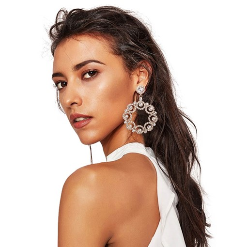 Hollow Out Diamante Claw Chain Drop Earrings