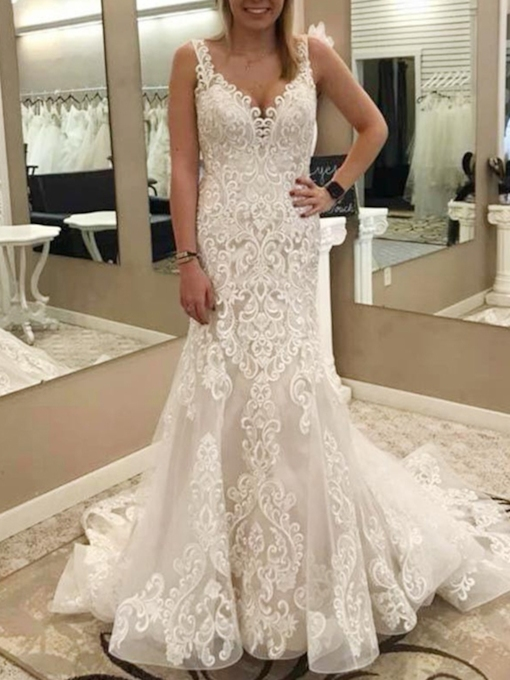 Mermaid Lace Appliques Straps Wedding Dress 2019