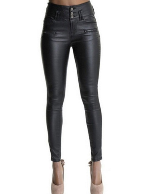 Skinny Button Plain Pencil Pants Women's Casual Pants