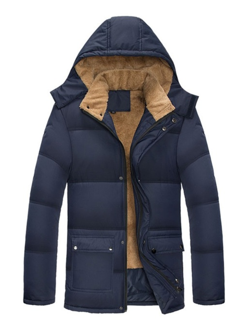 Plain Pocket Zipper Men's Down Jacket
