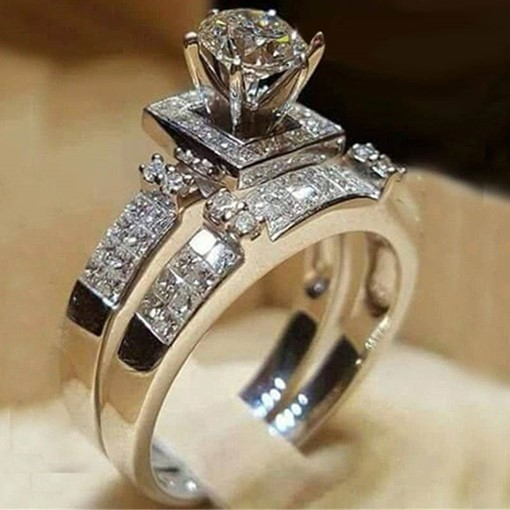 Imitation Diamond Eight Hearts & Eight Arrows Cut Wedding Ring