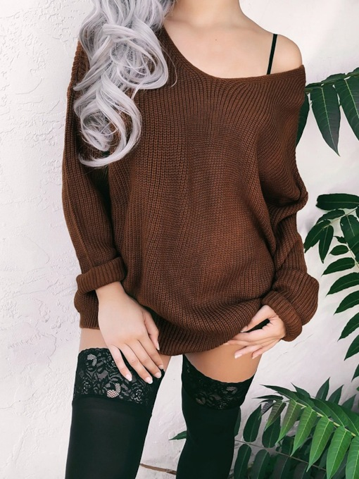 Loose V-Neck Backless Mid-Length Women's Sweater