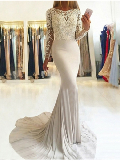 Appliques Trumpet Floor-Length Scoop Evening Dress