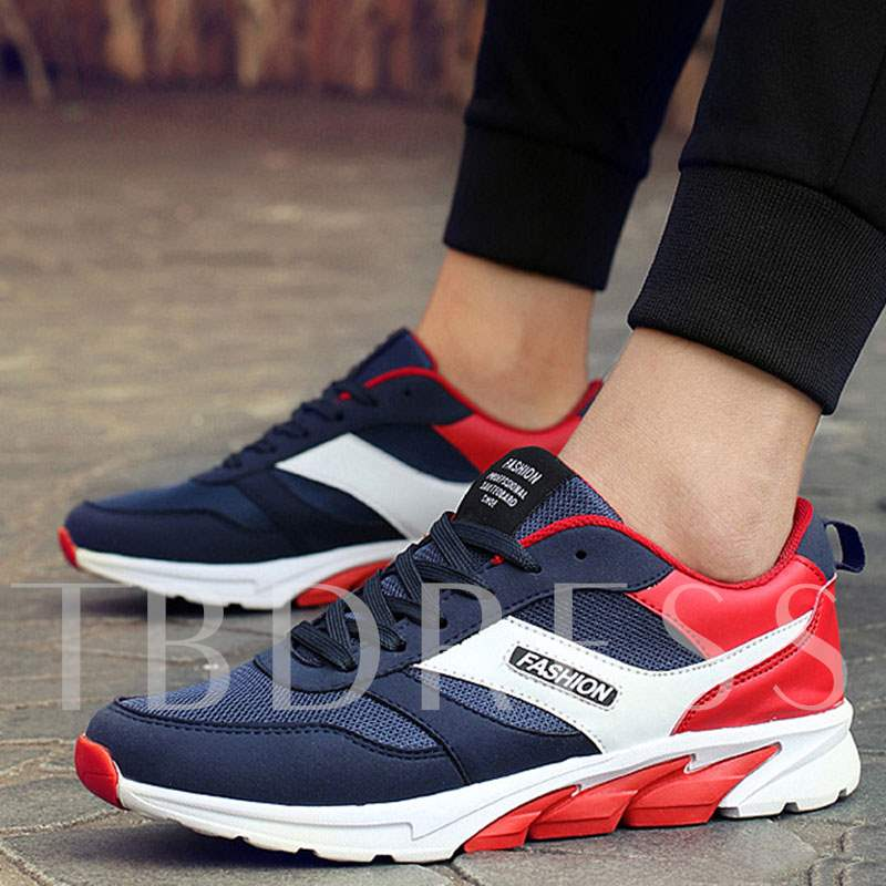 Lace-Up Low-Cut Upper Round Toe Color Block Men's Sneakers