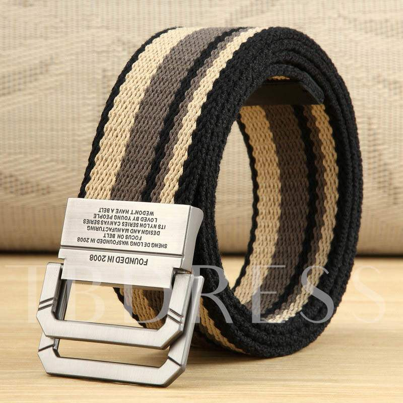 Casual Stripe Double Loop Canvas Men's Belts
