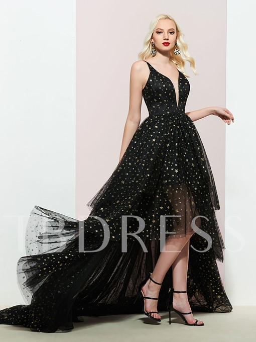 A-Line Tiered Chapel Spaghetti Straps Prom Dress