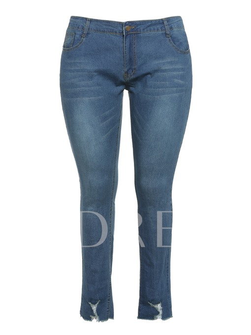 Plus Size Plain High-Waist Women's Jeans
