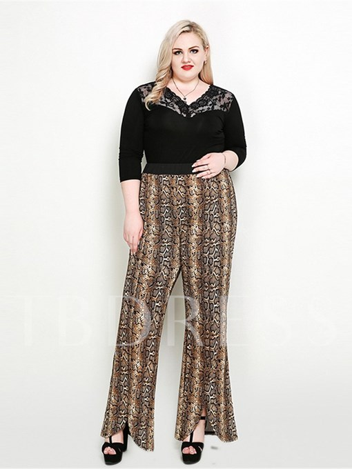Plus Size Loose Serpentine Asymmetric Wide Legs Women's Casual Pants