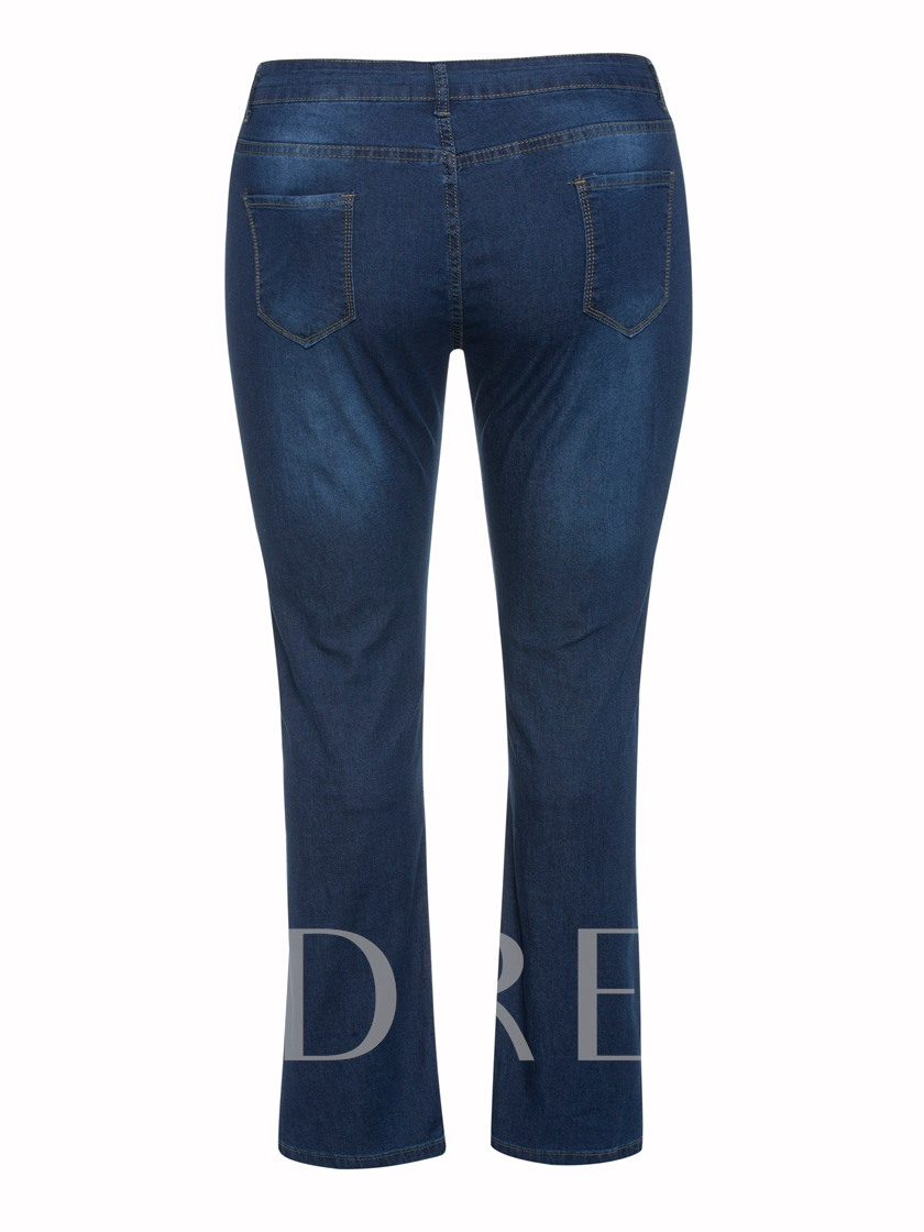 Plus Size Hole Plain Zipper High Waist Women's Jeans