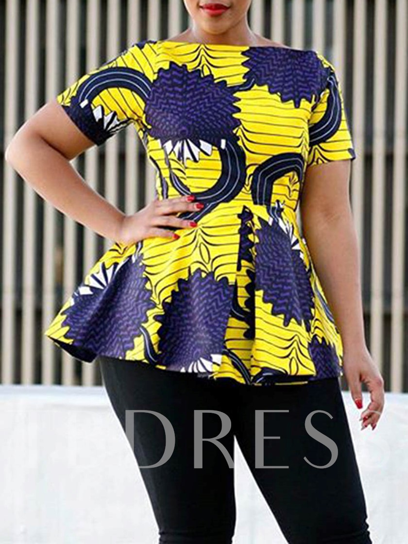 Color Block African Fashion Geometric Pattern Mid-Length Women's Blouse