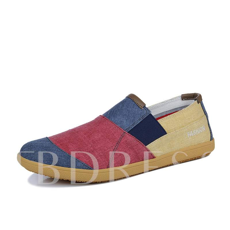 Color Block Slip-On Low-Cut Upper Round Toe Men's Loafers