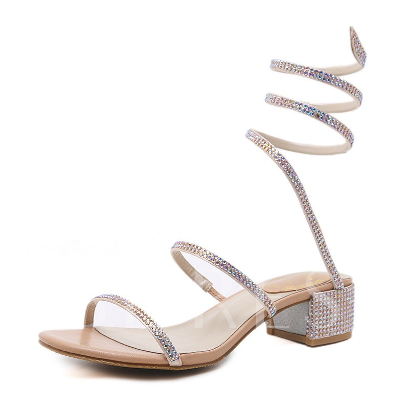 Rhinestone Chunky Heel Ankle Strap Slip-On Open Toe Women's Sandals