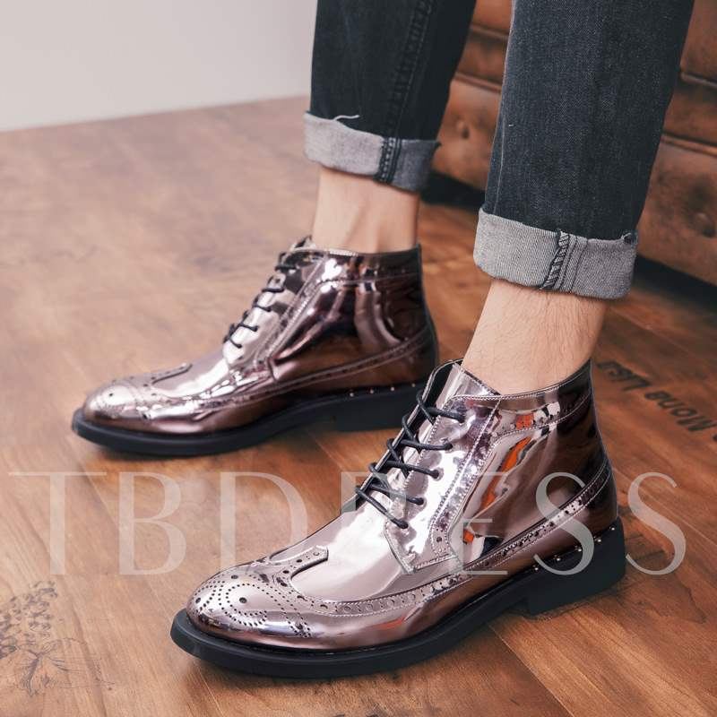 Lace-Up Front Plain Round Toe PU Elegant Men's Boots