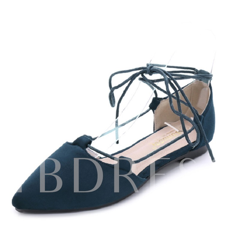 Block Heel Lace-Up Pointed Toe Women's Flats