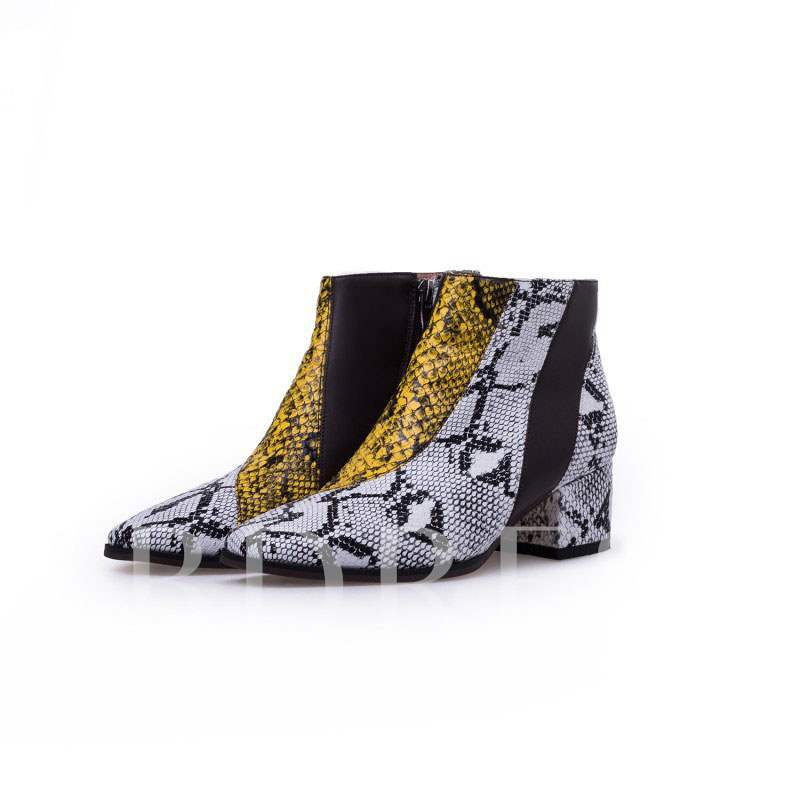 Chunky Heel Square Toe Animal Print Patchwork Customized Ankle Boots
