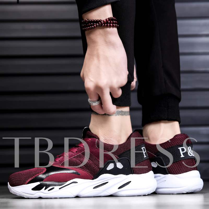 Low-Cut Upper Color Block Lace-Up Round Toe Men's Sneakers