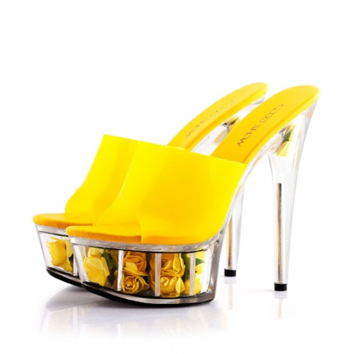 Slip-On Stiletto Heel Platform Neon Jelly Women's Slippers
