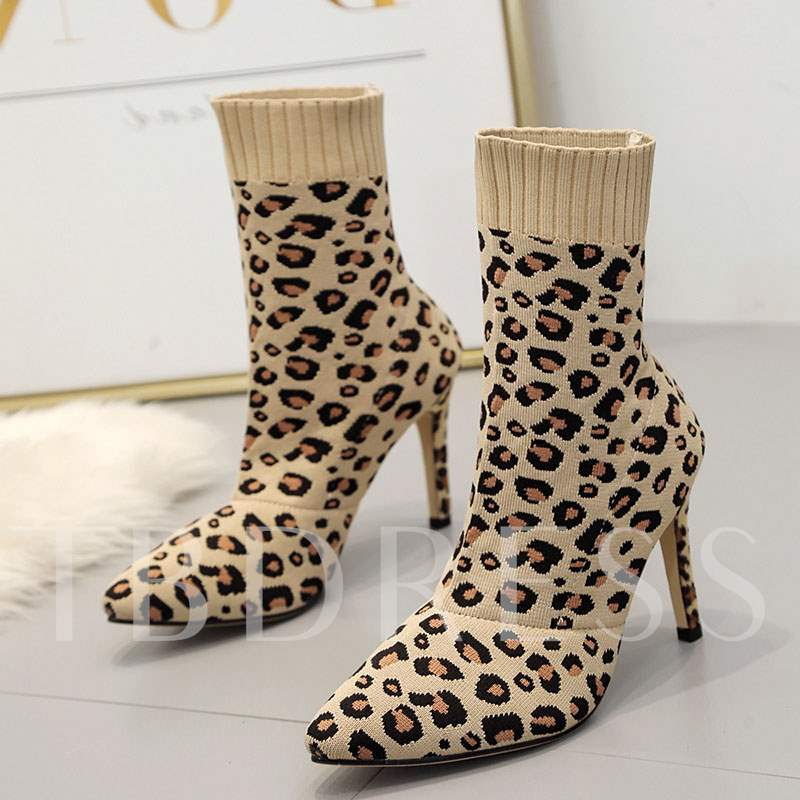 Stiletto Heel Leopard Pointed Toe Slip-On Casual Ankle Sock Boots