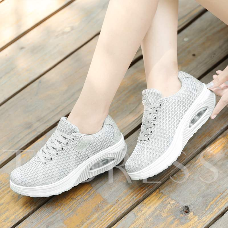 Lace-Up Low-Cut Upper Platform Round Toe Air Cushion Women's Sneakers