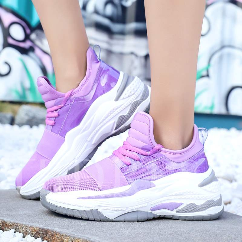 Lace-Up Thread Round Toe Low-Cut Upper Mesh Women's Sneaker