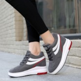 Round Toe Candy Color Lace-Up Mid-Cut Upper Wedge Sneakers