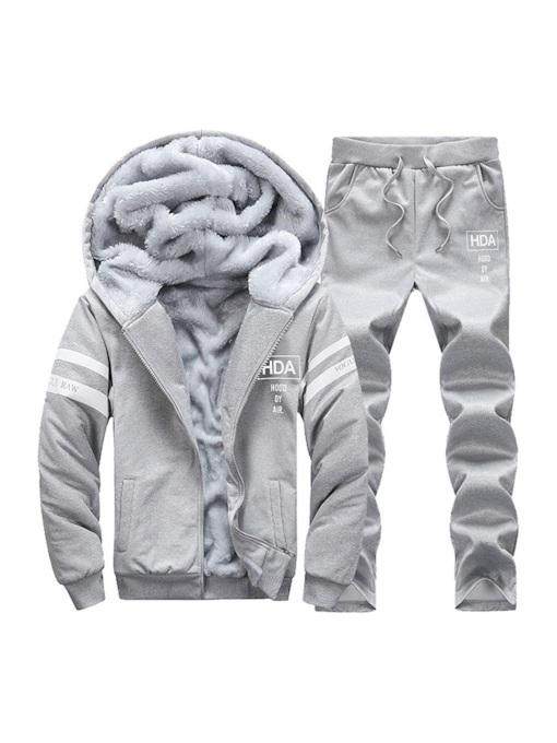 Casual Stripe Print Fleece Lining Men's Sports Suit