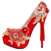Sequin Round Toe Slip-On Stiletto Heel Customized Red Wedding Shoes