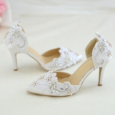 Pointed Toe Stiletto Heel Slip-On Rhinestone Wedding Shoes