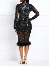 Sequins Patchwork Bodycon Women's Long Sleeve Dress