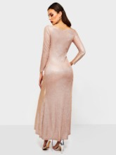 Long Sleeve Pullover Round Neck Women's Maxi Dress