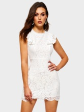Lace Cap Sleeve Casual Hollow Women's Lace Dress