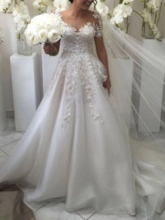 Sheer Neck A-Line Appliques Short Sleeve Wedding Dress