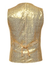 Plain V-Neck Sequins Single-Breasted Men's Waistcoat