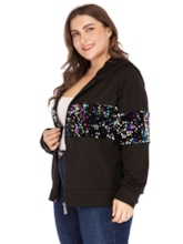 Loose Sequins Hooded Plus Size Women's Jacket