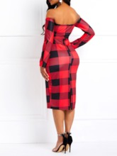 Long Sleeve Print Off Shoulder Plaid Women's Bodycon Dress