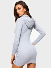Long Sleeve Pleated Lace-Up Women's Bodycon Dress
