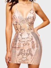 Sleeveless Patchwork V-Neck Sexy Women's Party Dress