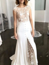 Sheath Cap Sleeves Button Lace Wedding Dress 2019