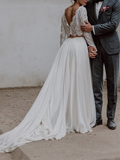 Two Pieces Lace Long Sleeves Beach Wedding Dress 2019 Two Pieces Lace Long Sleeves Beach Wedding Dress 2019