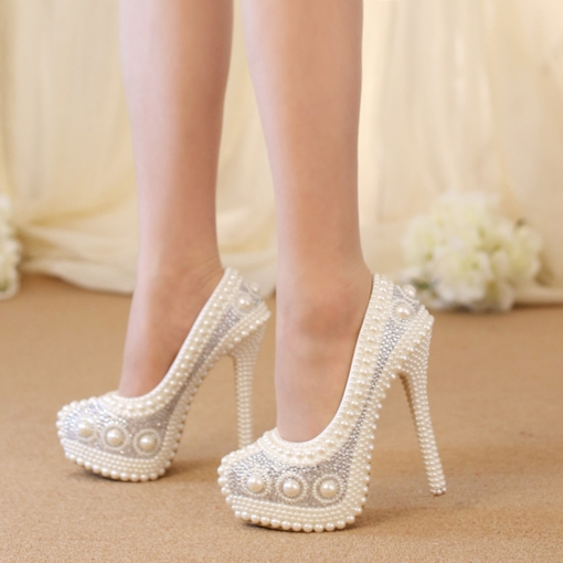Round Toe Slip-On Stiletto Heel Platform Customized Wedding Shoes