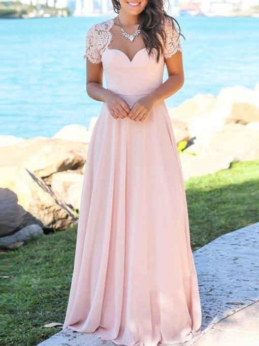 Lace Short Sleeves Backless Bridesmaid Dress 2019