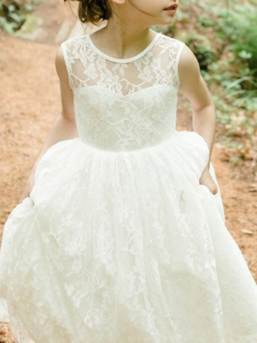 Lace Jewel Neck Sleeveless Flower Girl Dress