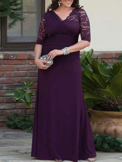 Sheath Half Sleeves Lace Plus Size Mother of the Bride Dress