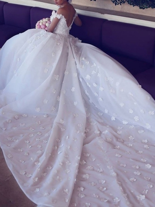 Off the Shoulder Flowers Appliques Ball Gown Wedding Dress