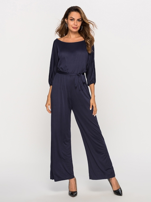 Casual Lace-Up Full Length Plain Slim Women's Jumpsuits