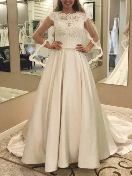 Cap Sleeves Pockets Bowknot Lace Wedding Dress 2019